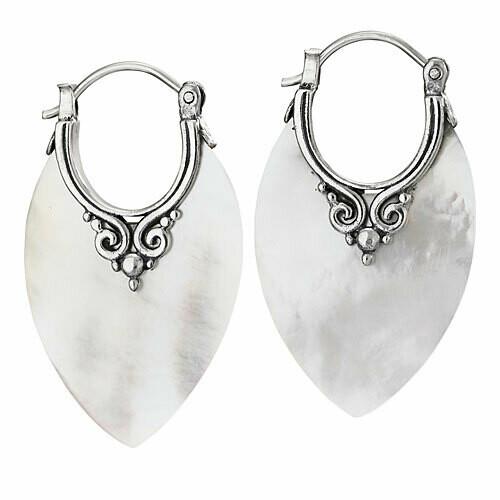 Sterling Silver Mother of Pearl Hoop Earrings - ETM4858