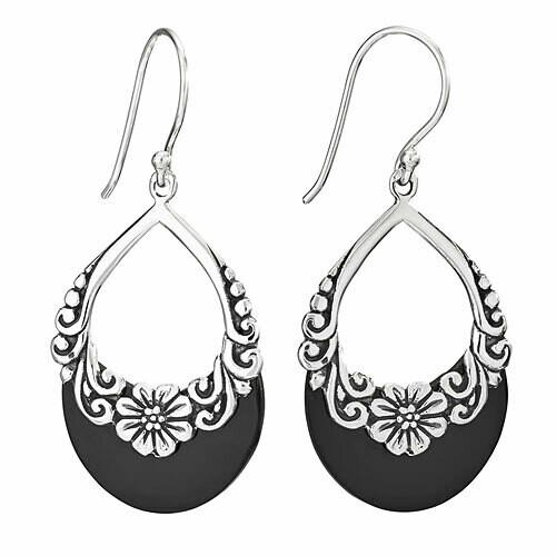 Sterling Silver Floral Black Onyx Earrings - ETM4859