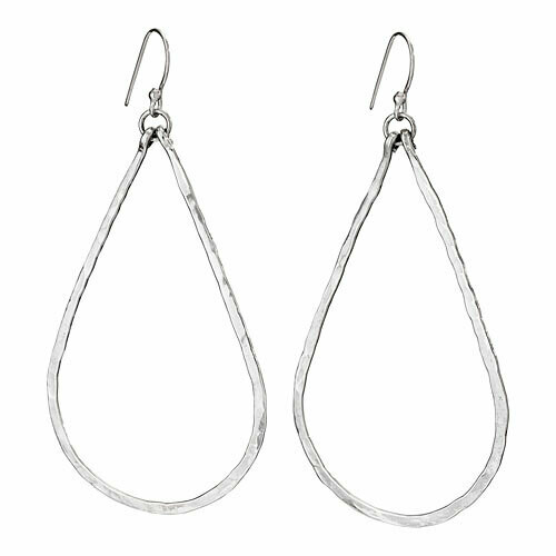 Sterling Silver Hammered Open Teardrop Earrings - ETM4830