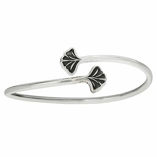 Sterling Silver Double Gingko Leaf Wrap Cuff Bracelet - BTM986