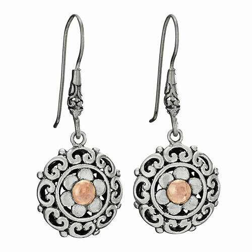 Sterling Silver with Gold Round Floral Earrings - ETM4849