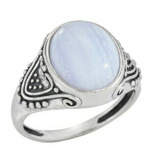 Sterling Silver Oval Blue Lace Agate Ring -RTM3778