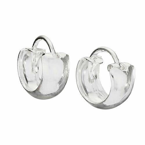Sterling Silver Small Wide Hoop Earrings - H13 4707