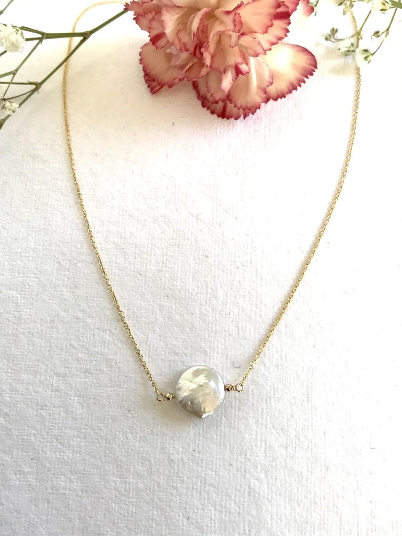 Venus Coin Pearl Festoon Necklace - GDFDN1