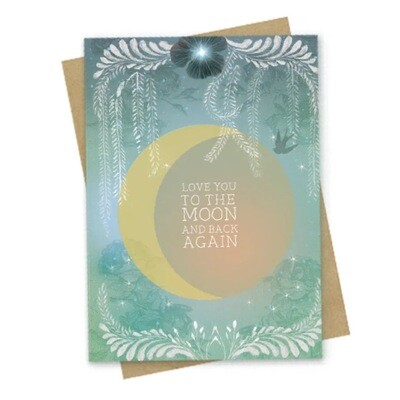 Moon & Back Small Greeting Card