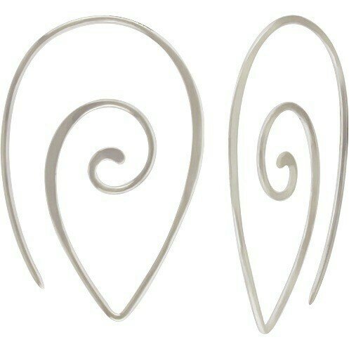 Sterling Silver Pointed Spiral Thread Thru Hoops - H12-2255