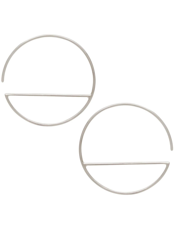 Sterling Silver Horizon Line Geo Minimalist Hoops - H12-3044