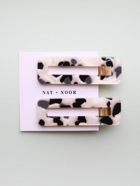 Tortoise Hair Clip Set - Black & White