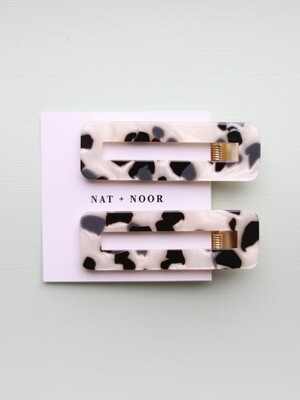 Tortoise Hair Clip Set - Black & White