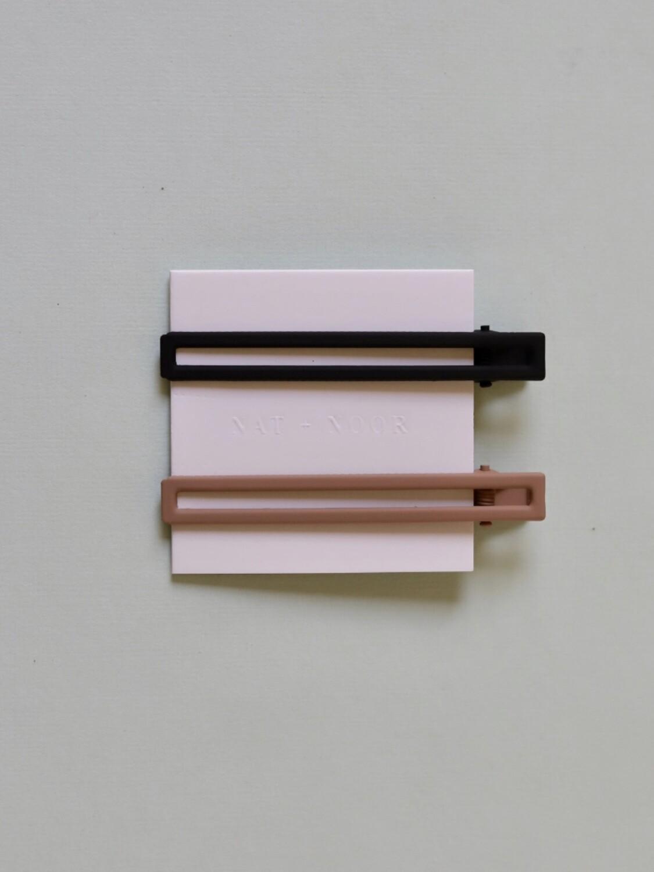 Leia Hair Clip Set - Black & Tan
