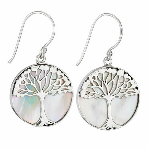 Sterling Silver Mother of Pearl Tree Earrings - ETM4436