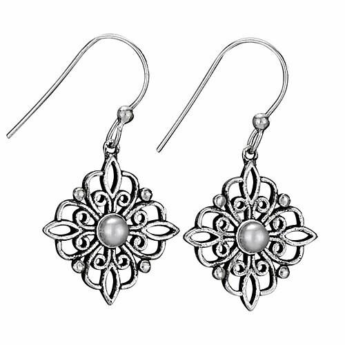 Sterling Silver Filigree Flower & Pearl Earrings - ETM3920
