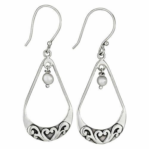 Sterling Silver Open Teardrop Pearl Earrings - ETM4544