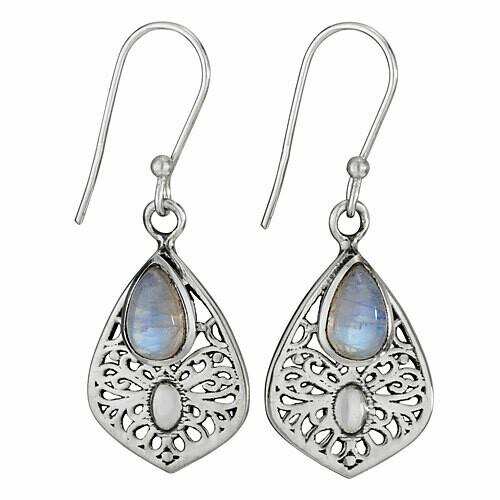 Sterling Silver Filigree Teardrop Moonstone Earrings - ETM4526