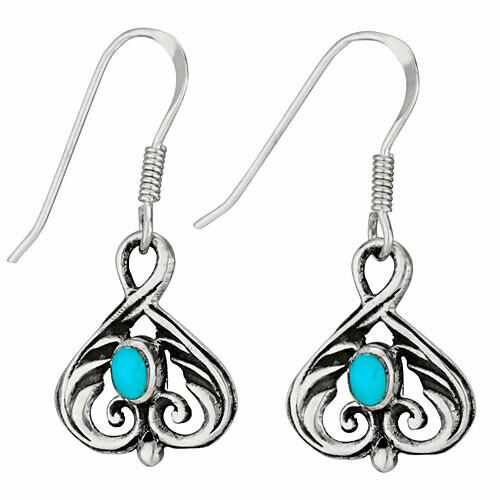 Sterling Silver Turquoise Scroll Earrings - ETM4553