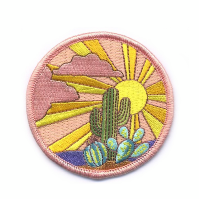 Cactus Sunset Embroidered Patch - AQPA2