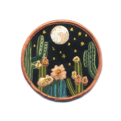 Night Cactus Embroidered Patch - AQPA4