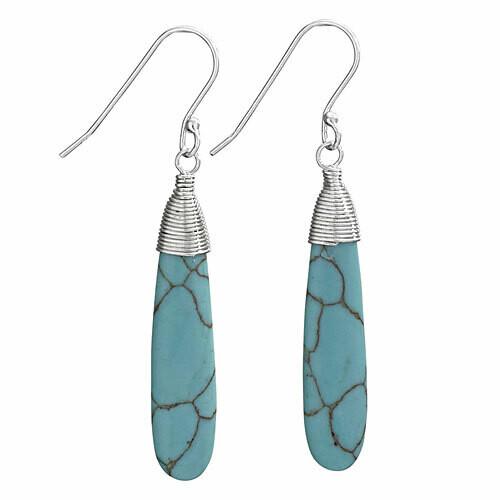 Sterling Silver Turquoise Drop Earrings - ETM3963