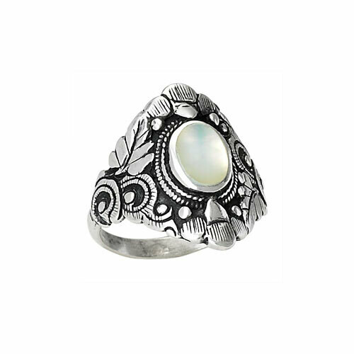 Sterling Silver Mother of Pearl Wide Ring -RTM2693