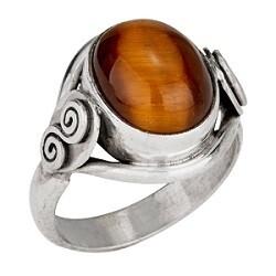 Sterling Silver Tiger Eye Scroll Ring - RTM316