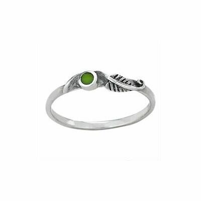 Sterling Silver Gaspeite Leaf Ring - RTM3092