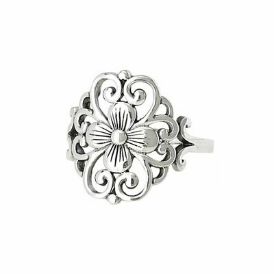 Sterling Silver Flower Scroll Ring - RTM2629