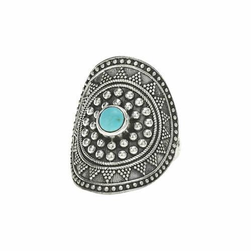 Sterling Silver Turquoise Mandala Ring - RTM3525