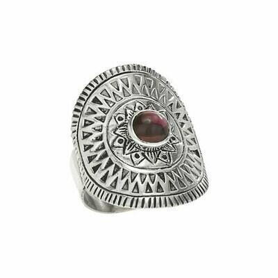 Sterling Silver Garnet Shield Ring - RTM3516
