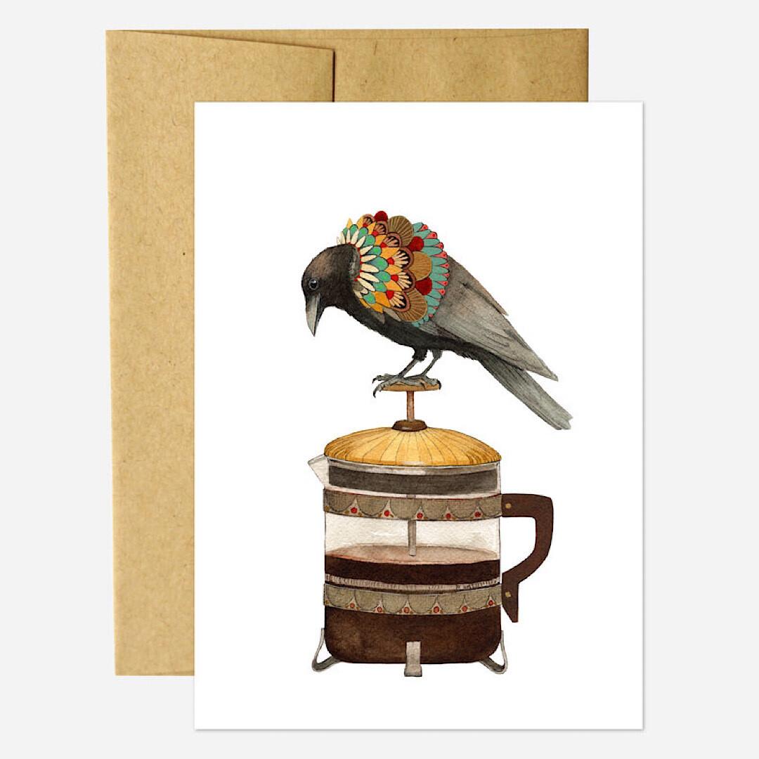 PH23 Coffee Crow Greeting Card