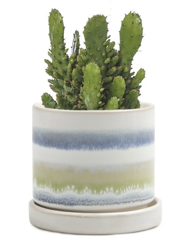 Chive Blue/Green Layers Minute 2 Ceramic Pot- MIPSBG