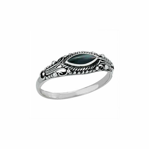 Sterling Black Mother of Pearl Eye Ring - RTM3183