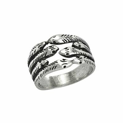 Sterling Silver Eight Snakes Meeting Ring- RTM3417