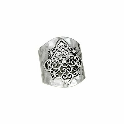 Wide Hammered Sterling Silver Ring - RTM2589