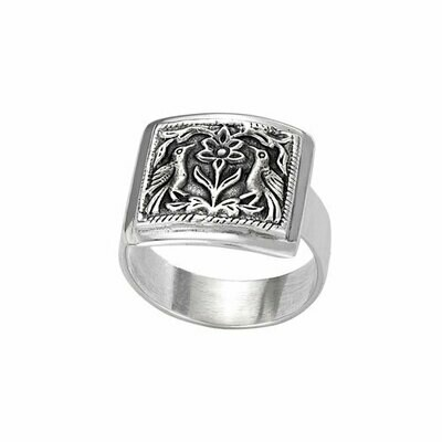 Sterling Silver Bird Plaque Antiqued Ring- RTM3341