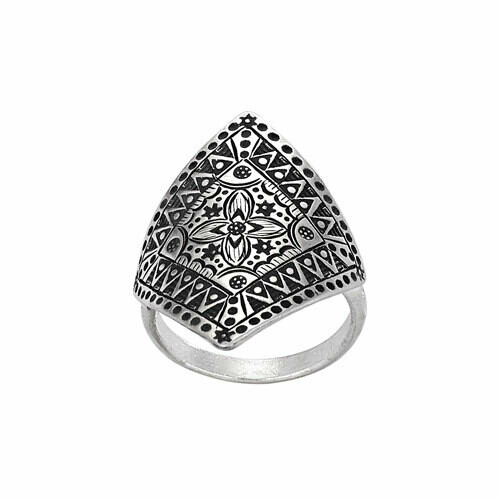 Hill Tribe Silver Stamped Geometric Ring - RTM3371