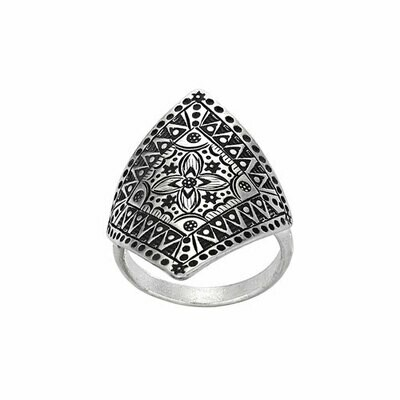 Hilltribe Silver Stamped Geometric Ring - RTM3371