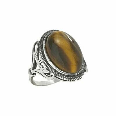 Sterling Silver Large Tiger Eye Ring - RTM3607
