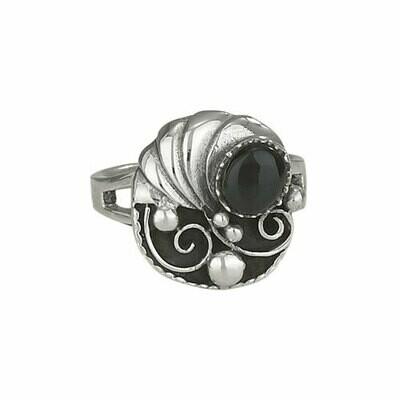 Sterling Silver Onyx Leaf Ring - RTM2809