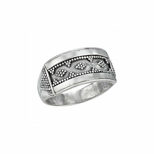 Sterling Silver Rectangular Bali Ring - RTM3145