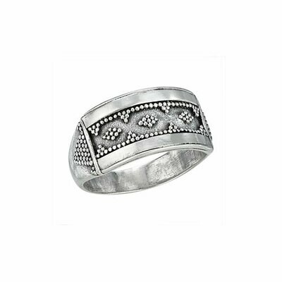 Sterling Silver Rectangular Bali Ring - RTM3145