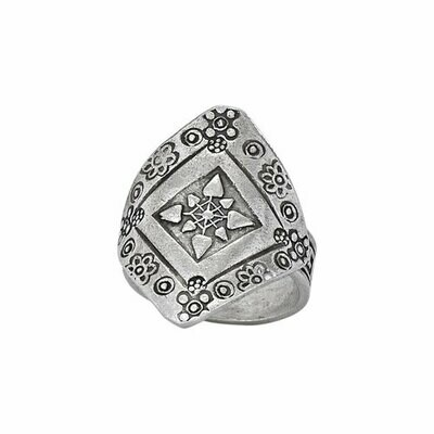 Hill Tribe Silver Floral Stamped Ring - RTM3292