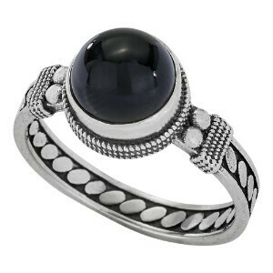 Sterling Silver Detailed Onyx Ring - RTM3753