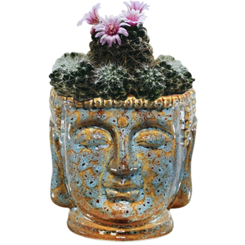 Blue Porcelain Buddha Bust -WBPL3