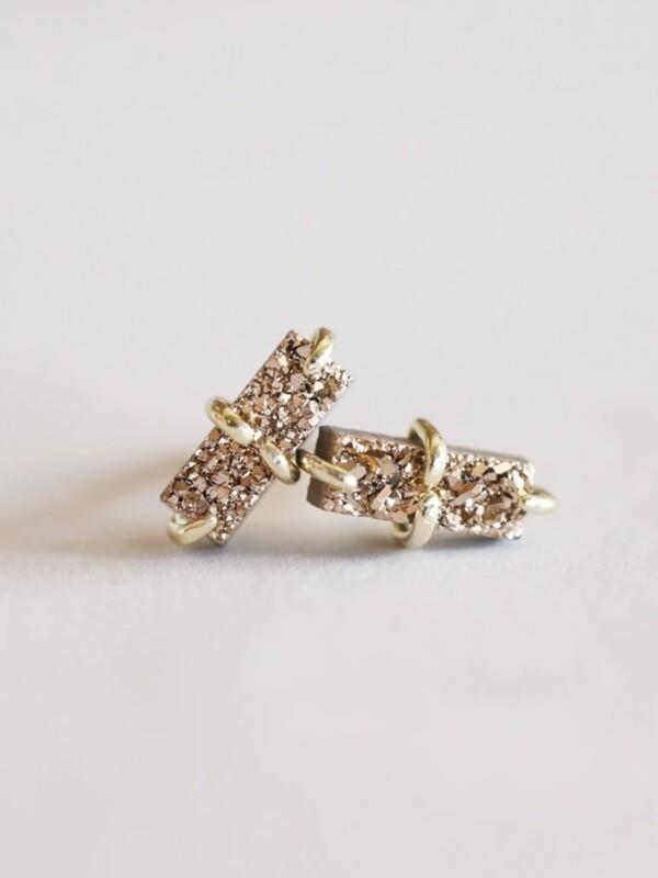Rose Gold Drusy Bar Prong Set Post - 18k Gold Over Silver - JK36