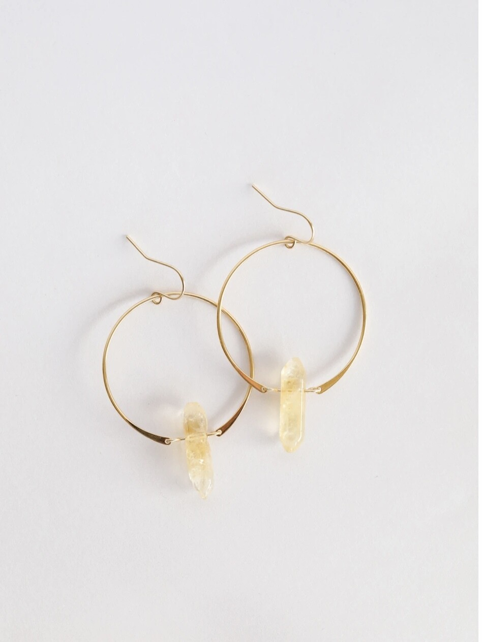 Citrine Gemstone Point Hoop Earrings - 18kt Gold Over Silver - JK26