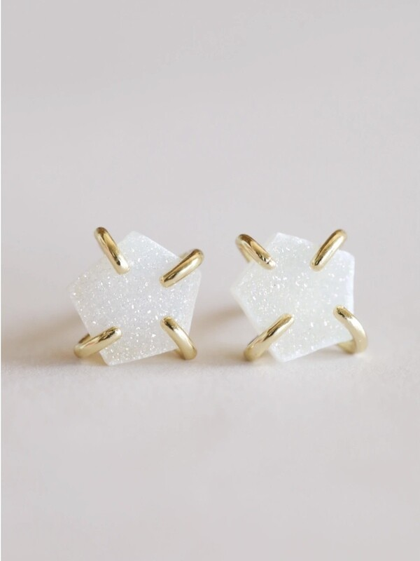 White Drusy Gemstone Prong Posts - 18k Gold Over Silver - JK34
