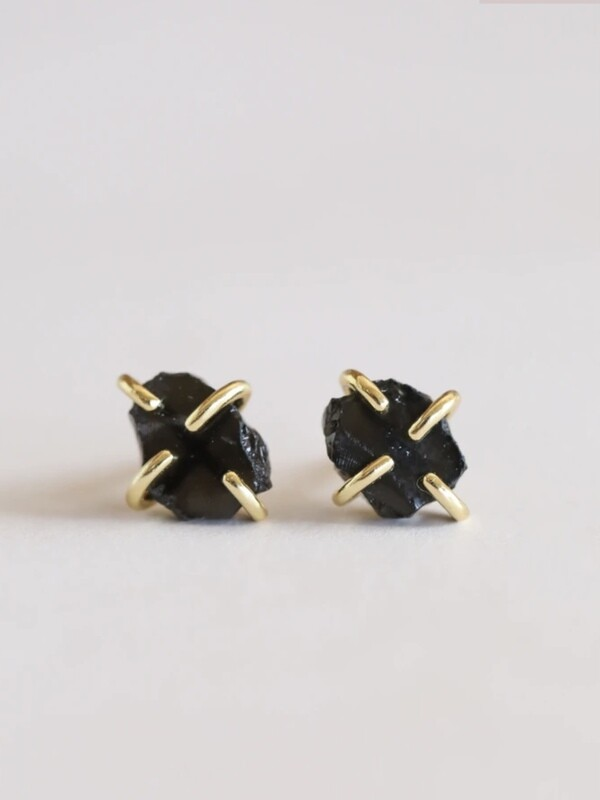 Obsidian Gemstone Prong Set Post - 18k Gold Over Silver - JK35