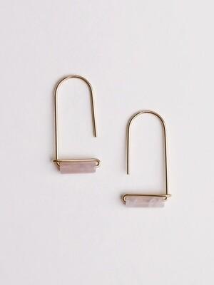 Rose Quartz Gemstone U Drop Earrings - JK24
