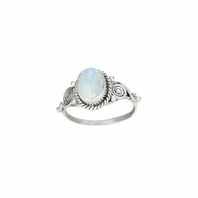 Sterling Silver Moonstone Swirl Ring - RTM522