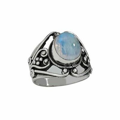 Sterling Silver Moonstone Filigree Ring - RTM2883
